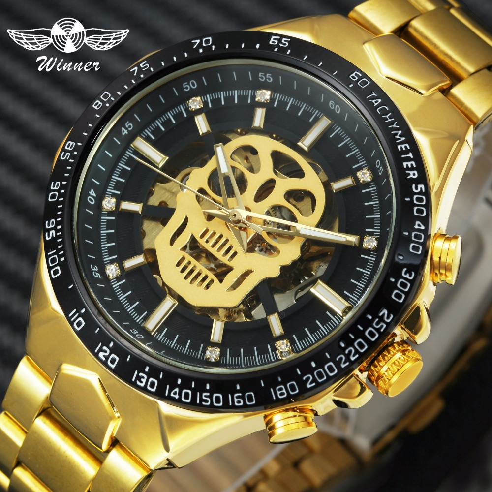 WINNER Official Hip Hop Automatic Watch Men Creative Skull Watches Stainless Steel Iced Out Skeleton Dial Mechanical Wristwatch