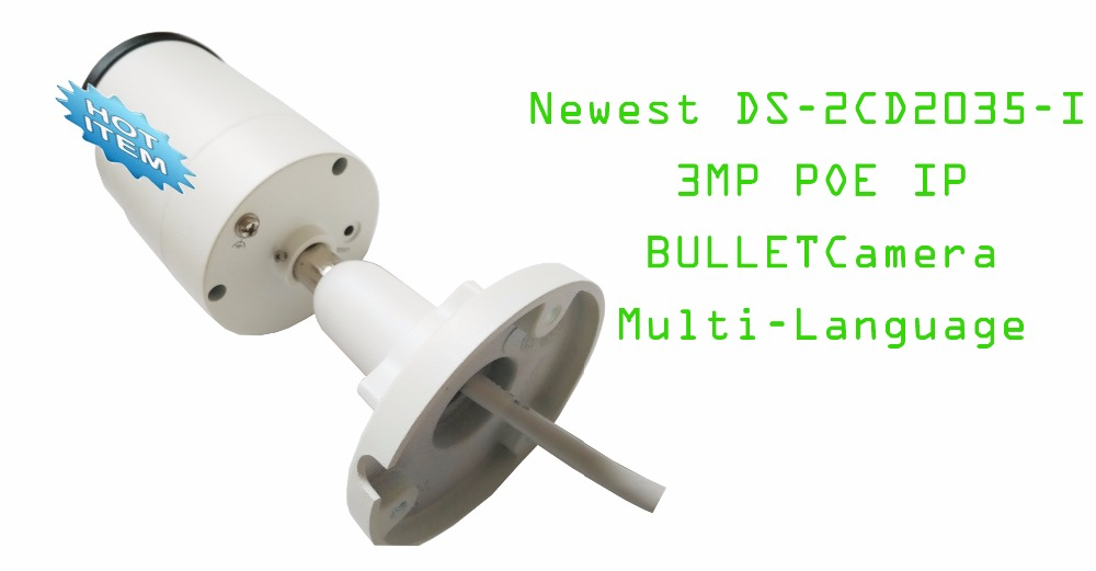 DS-2CD2035-I/ 3MP 1/3 CMOS Bullet IPC CCTV Camera, Support POE, IR 30m, H.265Encode/Replace for DS-2CD2032-I hikvision international version ds 2cd1031 i replace ds 2cd2032 i 3mp ip mini bullet camera support ezviz poe ir 30m outdoor