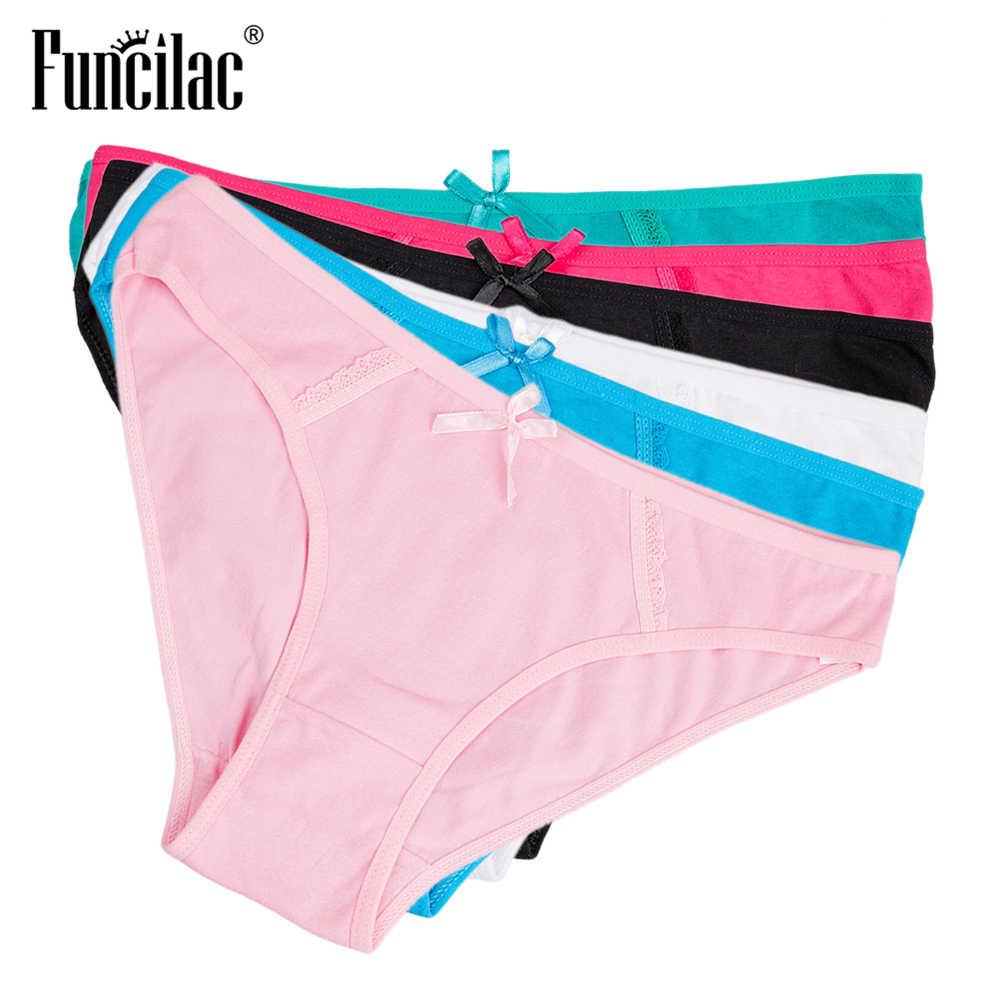 83704131f9 ... FUNCILAC Women s Briefs Sexy Lace Transparent Underwear Pink Cotton  Ladies Panties Plus Size Seamless Lingerie M