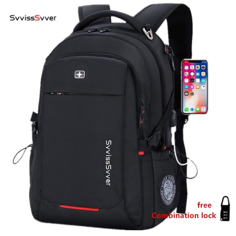 svvisssvver male Multifunction USB charging fashion business casual travel anti theft waterproof 15 6 inch Laptop