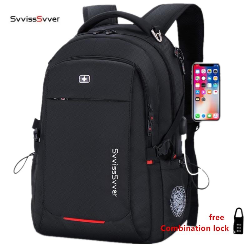 Svvisssvver mâle multifonction USB charge mode affaires décontracté voyage anti-vol étanche 15.6 pouces ordinateur portable hommes sac à dos