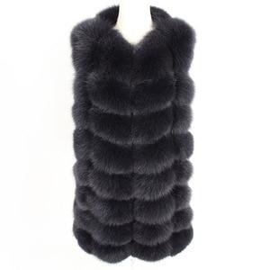 Image 4 - maomaokong 88cm long natural fox fur vest fashion sleeveless fur jacket coat warm female slim park jacket