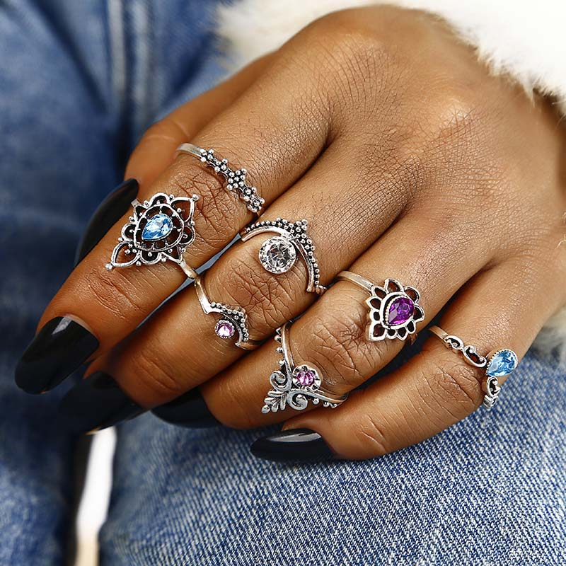 NJ21 13 PCS/SET Vintage Elephant Turtle Crystal Crown Rings Set For Women Lotus Heart Midi Knuckle Rings Party Jewelry Gifts