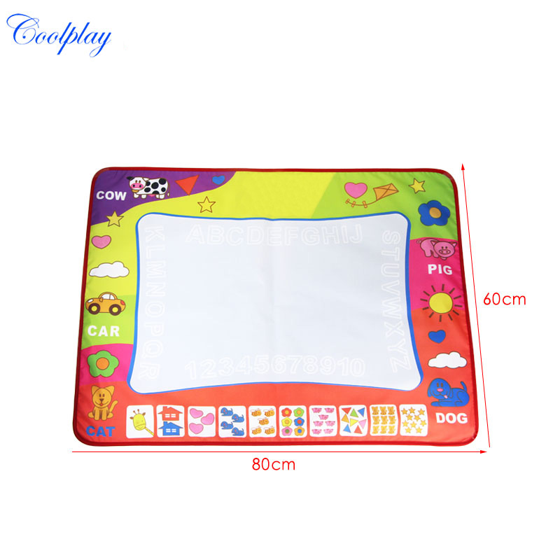 1 Pcs Non-toxic Magic Doodle Painting Mat with 2 Drawing Pen Kids Recycling Painting Board Early Educational Toys 80x60cm