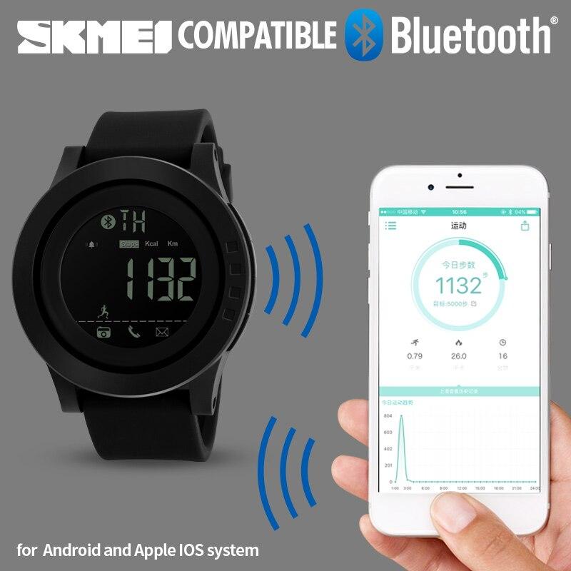 SKMEI Bluetooth Montre Smart Watch Hommes Montres de Sport Podomètre Calories Chronographe Femmes Numérique Montres Relogio Masculino