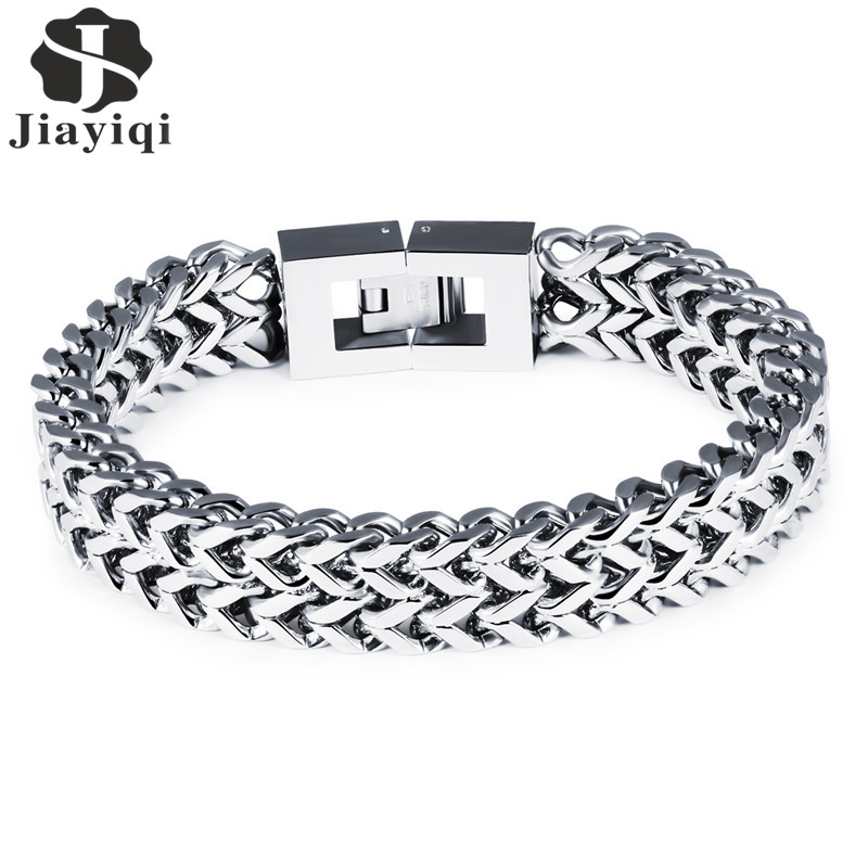 Jiayiqi Fashion Men Jewelry 316L Stainless Steel Link Chain Bracelets Bangles Punk Silver Color Wide Wristband Charm Gifts jiayiqi new mens bracelets stainless steel black silicone bracelets charm bracelet male bangle for men jewelry 2017 silver color