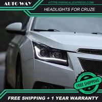Car styling LED HID Rio LED headlights Head Lamp case for Chevrolet Cruze 2009 2015 Chevrolet Cruze Bi Xenon Lens low beam