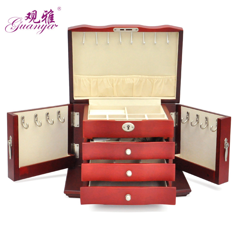 Guanya Retro New large wood jewelry box necklace bracelet ring earring storage box 27*18*19cm 4-layer new fashion women s necklace 18 bracelet 7 5 earring ring no box