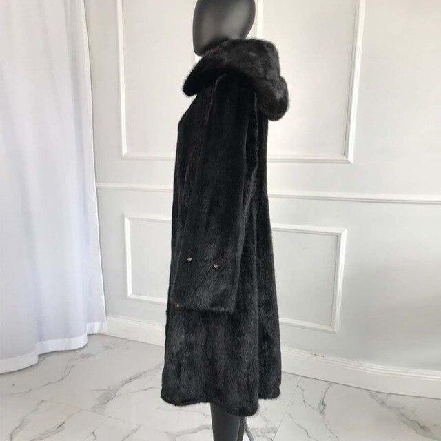 Manteau de fourrure de vison véritable de luxe de style long avec capuche femmes manteau de fourrure de vison naturel dhiver