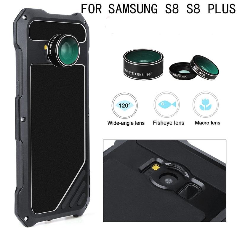 imágenes para 2017 Nuevo Galaxy S8 S8 Más Caso caja de Metal de Gran Alcance agua/Golpes/Dirt Prueba 3 en 1 lente de La Cámara cubierta de Coque de efectos Especiales
