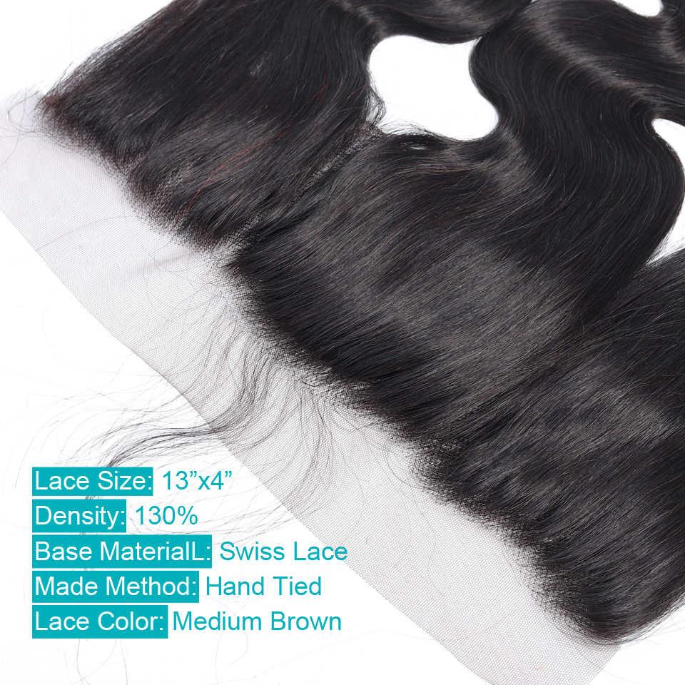 Пучки с фронтальным сделка бразильские волосы тела волна пучки с фронтальным кружевом человеческие волосы пучки с кружевной застежкой UR beauty Hair