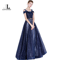 LOVONEY New Arrival Evening Dress Long A Line Lace Up Formal Dress Evening Party Gown Women