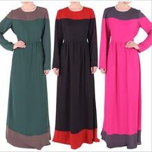 2016 Fashion Muslim Womens Chiffon Arab Abaya Kaftan Robes Dresses Long Sleeve O Neck Floor Length