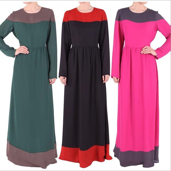 2016 Fashion Muslim Womens Chiffon Arab font b Abaya b font Kaftan Robes Dresses Long Sleeve