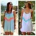 Европейский И Американский Пляж Casual Dress Горячей продажи 2016 Летом Новых Шею Печатных Кружева Бахромой Жгут Dress