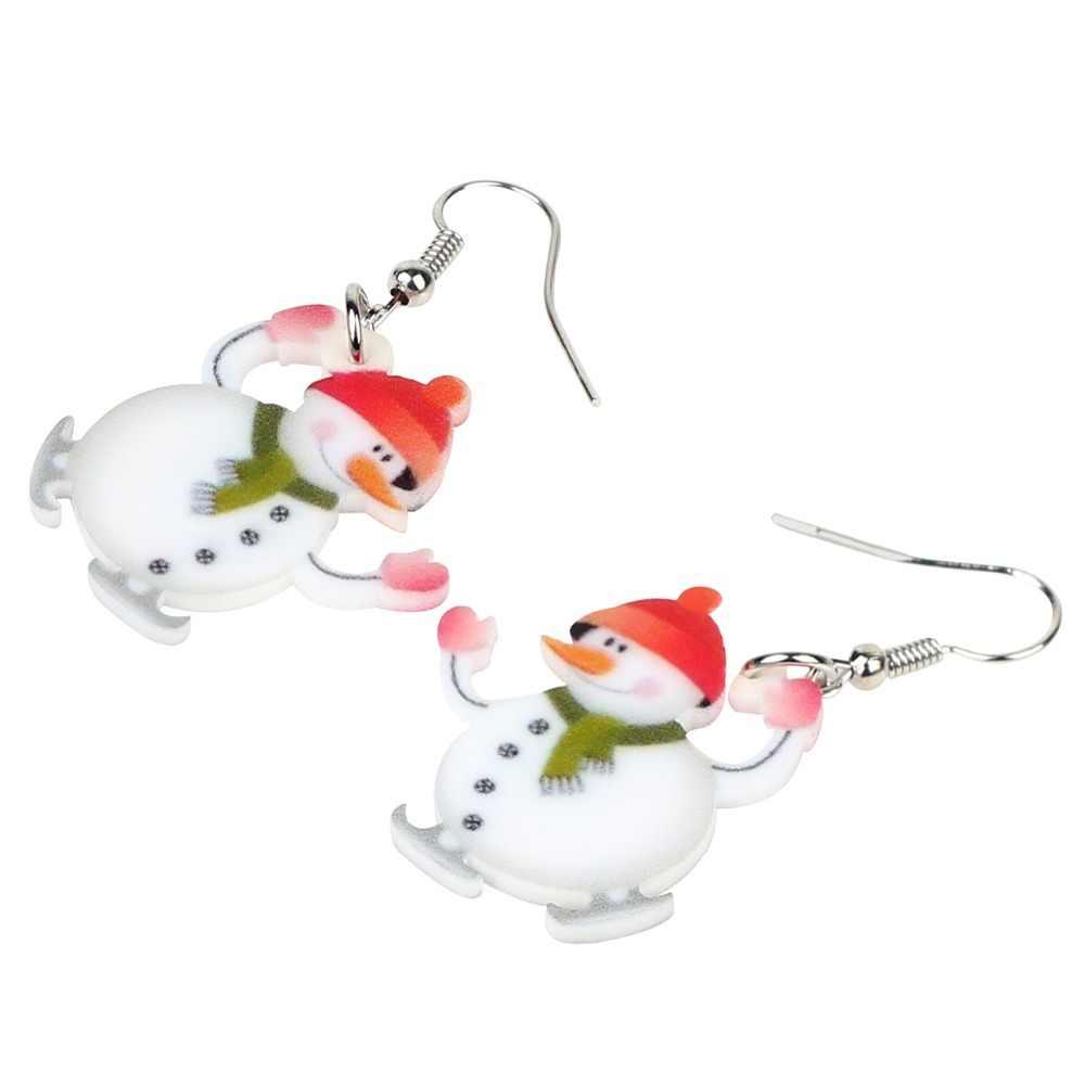 Bonsny акриловые рождественские счастливый снеговик серьги-подвески в форме капли Мультяшные украшения ювелирные изделия для женщин девочек подростков аксессуары на новый год