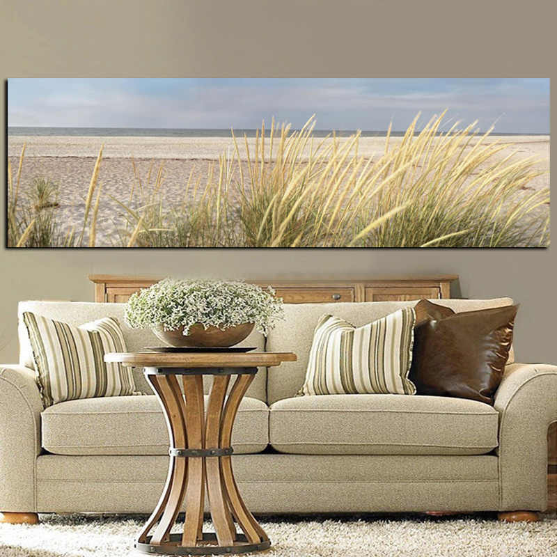 Wall Canvas Art Seascape Beach Landscape Painting Poster HD Print Sky Island Sand Dunes Tail Grass Wall Pictures For Living Room