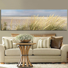 HD Print Wall Canvas Art Seascape Beach Landscape Painting Sky Island Sand Dunes Tail Grass Poster Wall Pictures For Living Room