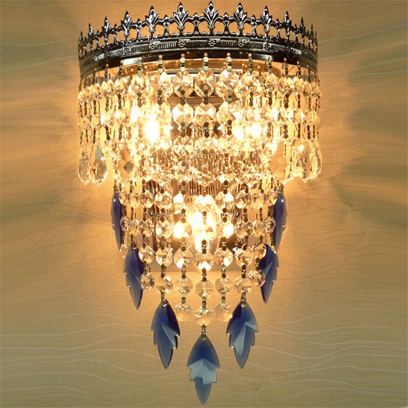 blue crystal wall sconces