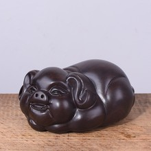 Ebony Carved pig Ornaments Solid Wood Zodiac Pig Home Feng Shui Living Room Decorations Mahogany Carving Crafts