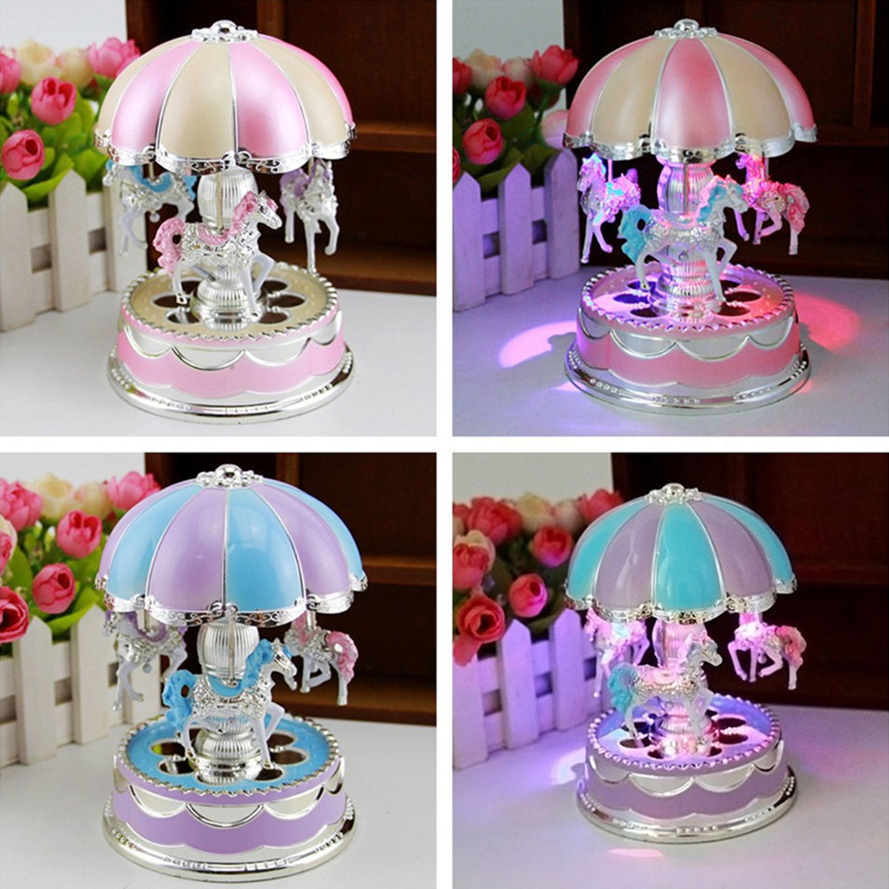 2018 Hot Merry-Go-Round LED Horse Carousel Music Box Kids Toy Musical Birthday Toy Phones Gift