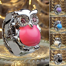 Girls Woman Shiny Rhinestone Owl Case Stainless Metal Elastic Finger Ring Watch