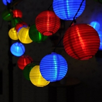 20 LED Solar Power Lantern Lamp Waterproof Festive Garden Xmas Ball String Fairy Light Multi Color