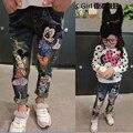 2-7Yrs Crianças Calças meninas calça jeans Primavera Bebê Menina Rato Dos Desenhos Animados Calças Jeans Da Moda Crianças calças de Brim da Roupa Meninas Crianças Calças de Brim