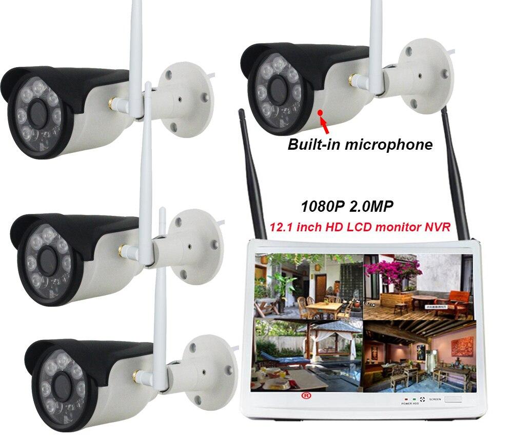 Audio 4CH 1080 P sans fil NVR Kits 12.1 'affichage LCD HD 4X2 MP sécurité extérieure caméra IP microphone construit enregistrement audio vidéo