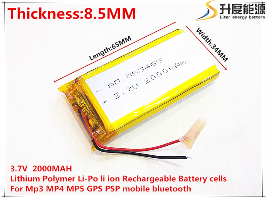 3 7V 2000mAh 853465 Lithium Polymer Li Po li ion Rechargeable Battery cells For Mp3 MP4