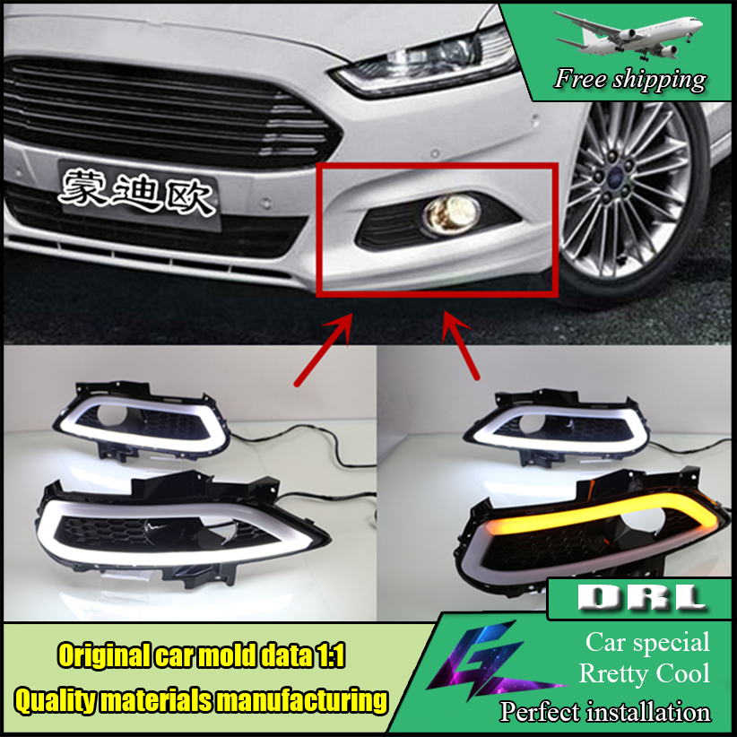 Car Styling LED Daytime Running Light With Yellow Turn Signal Lamp ABS Cover For Ford Mondeo For Fusion 2013-2016 LED Daylights free shipping drl styling for ford mondeo fusion 2013 2016 led daytime running light turn signal function with fog lamp hole