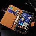 Para nokia 520 carpeta del diseño genuino cuero case para nokia lumia 520 teléfono bolso de la cubierta del soporte del tirón de lujo con la tarjeta titular