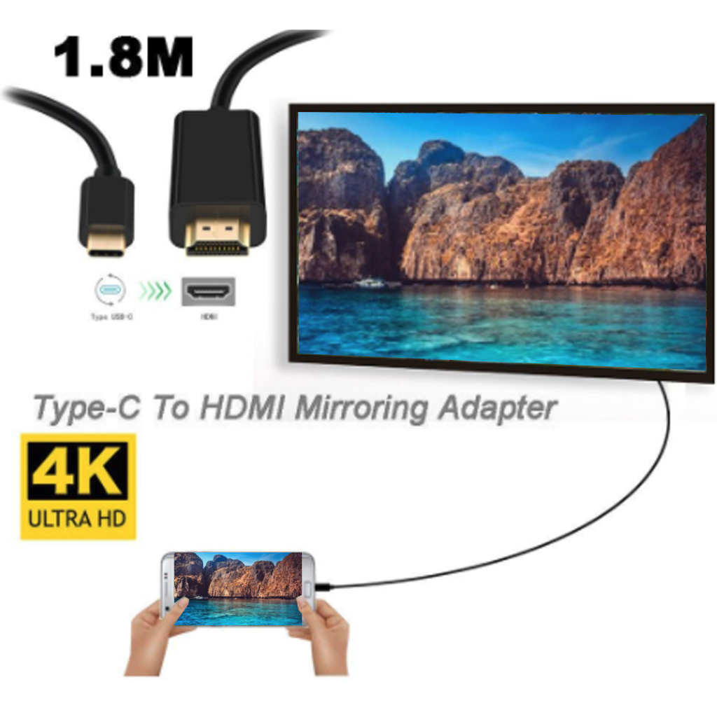 4K Type C to HDMI Cable adapter Thunderbolt 3 for MacBook Samsung Galaxy S10 Huawei Mate P20 Pro USB C HDMI Adapter in HDMI Cables from Consumer Electronics