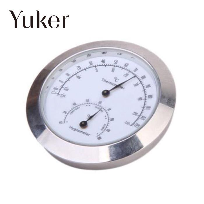 Yuker Mini Alloy Silver Round Humidity Moisture Thermometer Hygrometer Case For Guitar Violin Bass