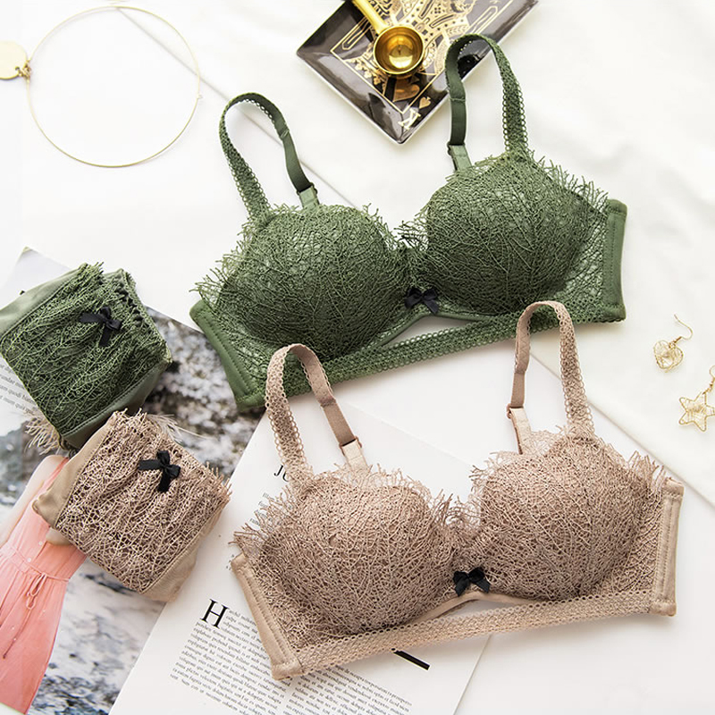 7f3119437fb7 Conjunto de Sujetador Push Up verde a la moda de Rosa corazón conjunto de  bragas acolchadas de encaje Bralette conjunto de lencería Sexy Conjunto de  ...