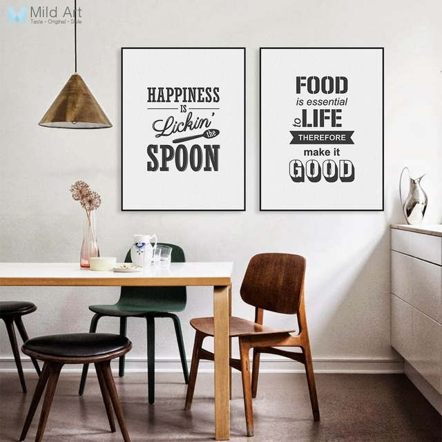 Aliexpress Com Buy Kitchen Decor Food Quote Canvas: Black And White Food Typography Love Life Inspire Quotes