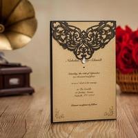 50 adet Klasik Tarzı Düğün Davetiyeleri Kartları Özel Rhinestone & Lazer Kesme Çiçek, Yazdırılabilir/Özelleştirilebilir