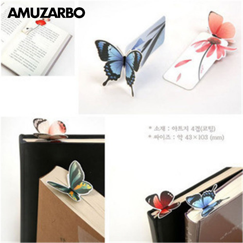 1Pcs Cute Butterfly 3D BookMarks Novelty Items Kawaii Book Marks Paper Clip For Books Girl Gifts School Office Supplies