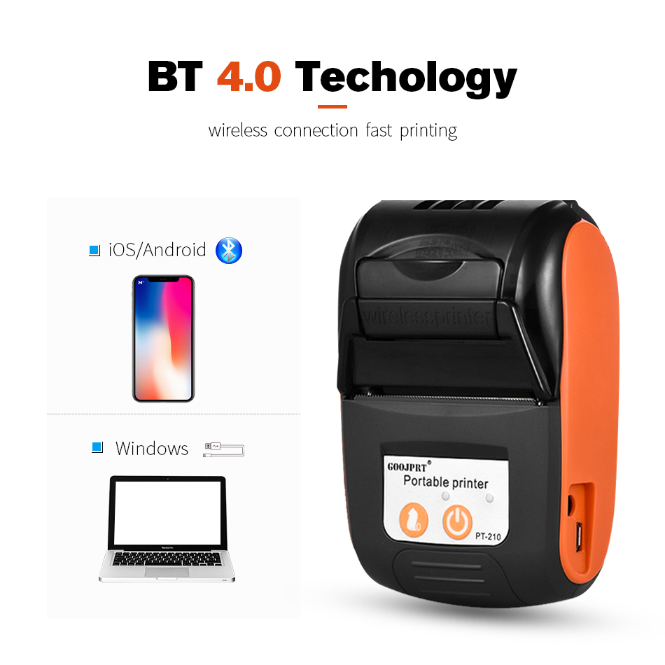 Wholesale Pos Mini Mobile Thermal Receipt Printer Pocket Wireless Printer Bluetooth for the Android iOS phone Support ESC / POS(China)