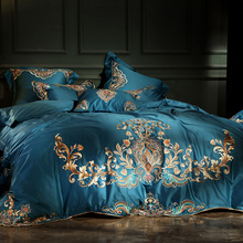 Blue Red Purple 100S Egyptian Cotton Gold Embroidery Luxury European Palace Bedding Set Duvet Cover Bed Sheet/Linen Pillowcases