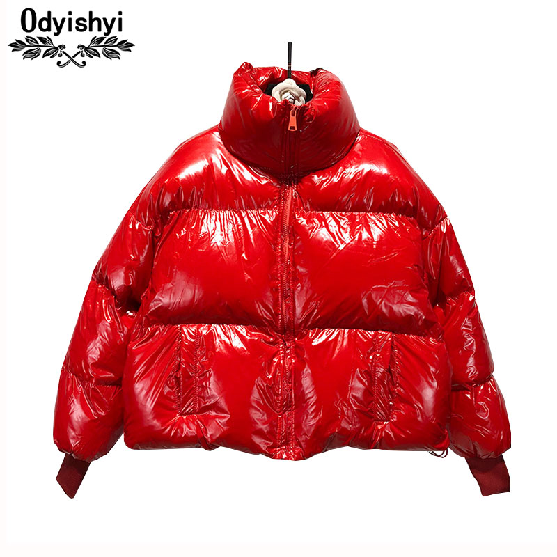 Winter Warm Short Jacket Women Down Cotton Coat 2019 Fashion Bright Padded Jackets Female Letter Stand