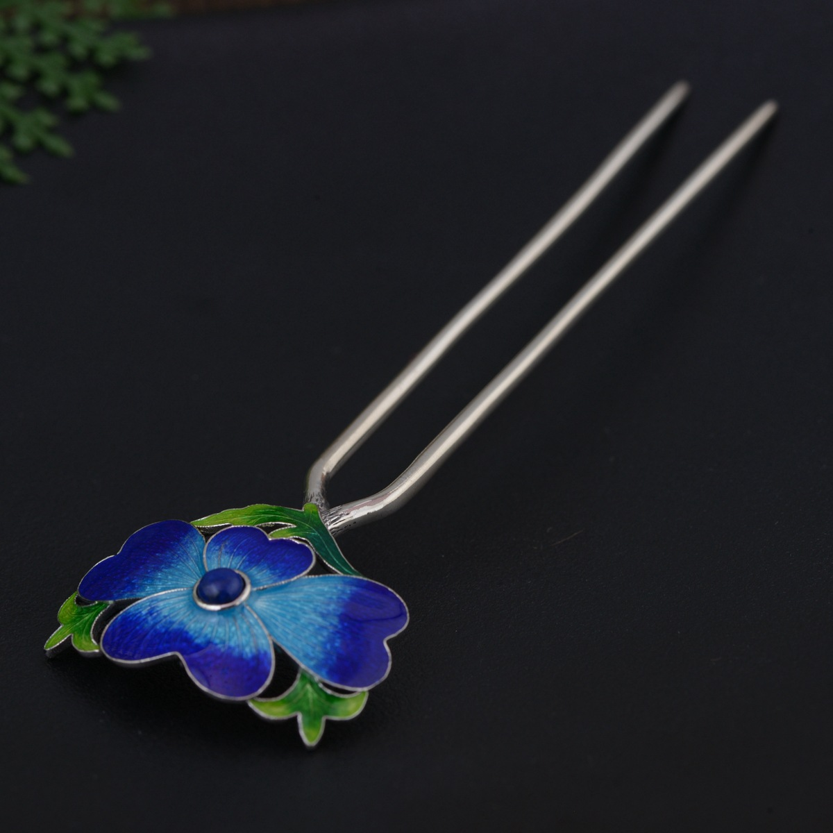 Cloisonne Thai Silver Hair Stick Enamel Silver Chinese Hairpin 2 prong Peony Flower Hair Fork Jewelry