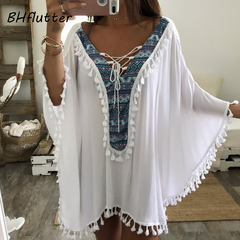 BHflutter 4XL 5XL 6XL Plus Size Women Clothing Tassel White Summer Dress Batwing Lace up V neck Shift Dress Casual Beach Dress