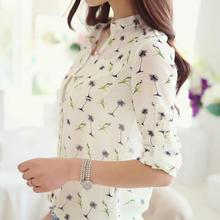 Hot Sale Fresh Women Tops Fashion Women Birds Printing Dot Chiffon Shirt Collar Blusa De Chiffon Blouse Long Sleeve Shirts Women
