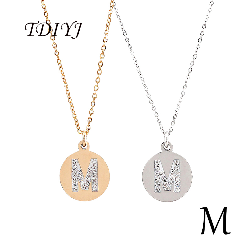 Tdiyj top selling stainless steel round gold tiny initial necklace tdiyj top selling stainless steel round gold tiny initial necklace disc m letter personalized charm pendant necklace 2pcslot in pendant necklaces from mozeypictures Gallery