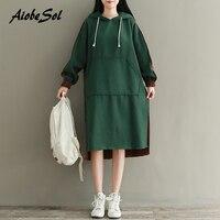 2017 Autumn Winter Dress Women Fleece Dress Japanese Mori Girl Thickening Long Sleeve Hooded Long Sweatshirt