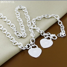 Top Quality 925 Silver Heart Tag Necklace Bracelet For Women Fashion Necklace Bracelet Jewelry Set Wedding chic silver heart wing bracelet for women