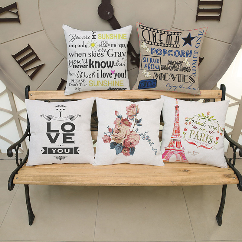 Hot Selling simple European style printing cotton linen pillow English alphabet home sofa bed car chair decorate cushion 45*45cm
