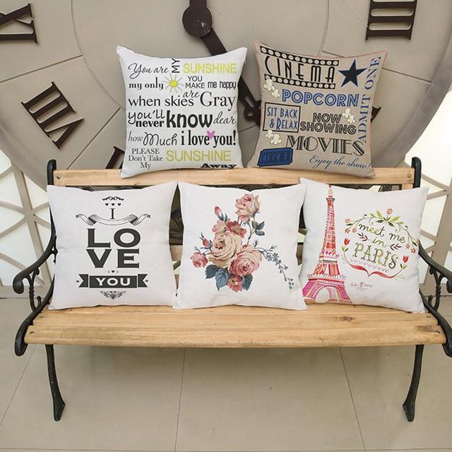 US $7.99  Vendita caldo semplice stile Europeo stampa lino guanciale in  cotone alfabeto Inglese home divano letto sedia auto decorare cuscino 45*45  cm ...