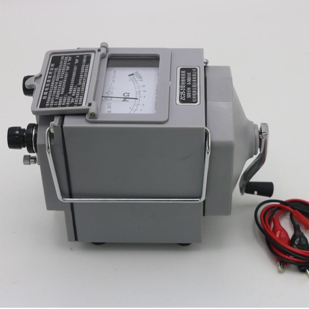 ZC25 3 500V Insulation Megohm Tester Resistance Meter Megger Megohmmeter Multimeters Probe Lead High Change Rate Digit bridge